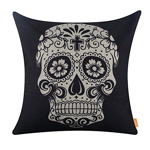 Halloween Opening Remarks (LINKWELL 45x45cm Black Skull Halloween All Hallows' Eve Gift Present Linen Cushion Covers Pillow Cases Trick-or-Treating with Gift)