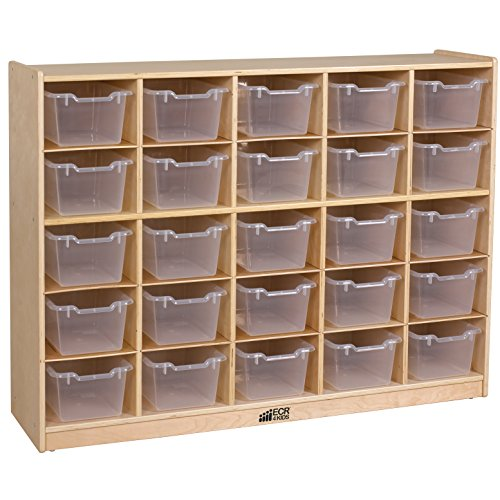 ECR4Kids Birch 25 Cubbie Tray Cabinet with Scoop Front Bins, ()