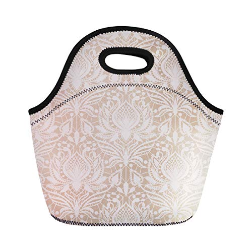 Semtomn Lunch Tote Bag Beige Delicate Lace Pattern in Vintage Drawing Elegance Elegant Reusable Neoprene Insulated Thermal Outdoor Picnic Lunchbox for Men Women