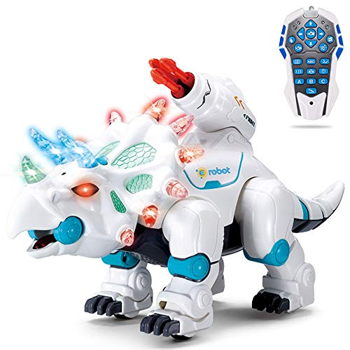 wodtoizi RC Robot Dinosaur Intelligent Remote Control Walking Dinosaur Toy Interactive Educational Dancing Singing Missiles Launching Water Mist Spraying Story Telling Learning Dino Robot Triceratops