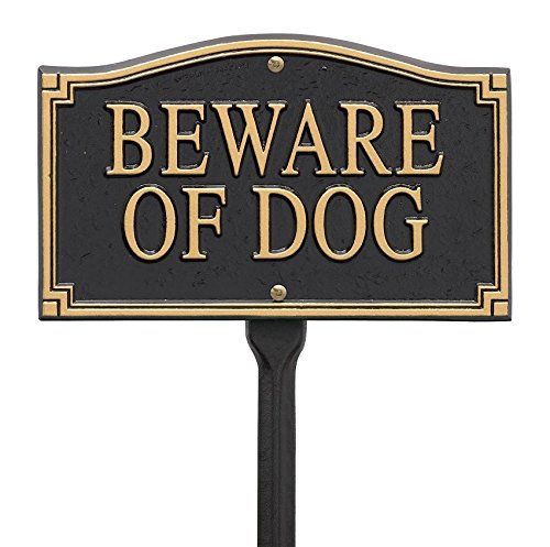Whitehall Products Custom Beware of Dog Statement Marker in Black/Gold