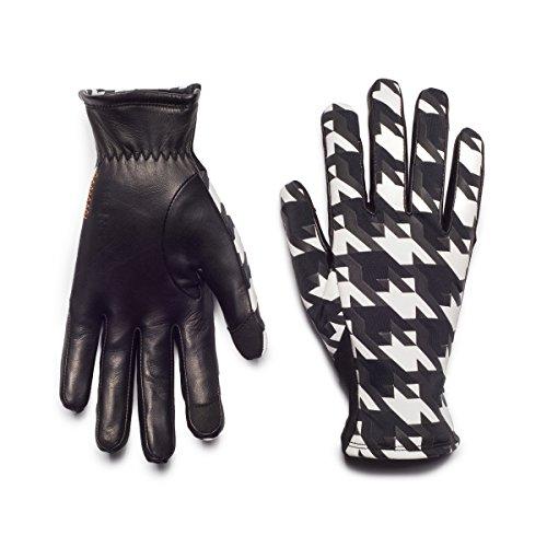 HONNS Women's MaryJane Honnstooth Gloves (Premium European Lambskin Palm, Plush Lining, Touchscreen Compatible) Noir M