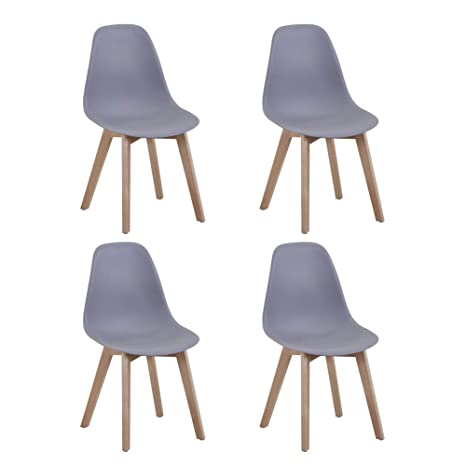 Peachy Kaihe Eiffel Wood Dining Chairs Modern Lounge Kitchen Chairs Set 4 For Dining Room Living Room Grey Dailytribune Chair Design For Home Dailytribuneorg