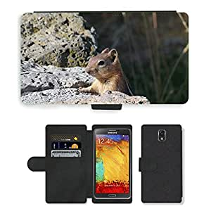 PU LEATHER case coque housse smartphone Flip bag Cover protection // M00110178 Chipmunk Animal Mamífero roedor // Samsung Galaxy Note 3 III N9000 N9002 N9005