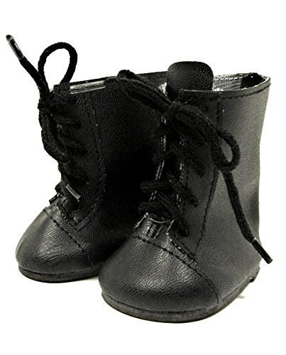 BLACK 1800's Style BOOTS Fits American Girl Doll such as Samantha, 18 Inch Doll Shoes (Black Doll Shoes)