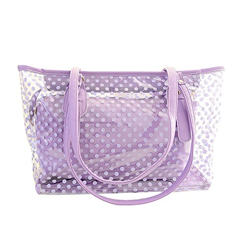 Zipper Bag Beach With Beach Candy clear Small Semi Tote Polka Tote Clear Dot NOTAG Pouch Purple Bag Waterproof Color Handbag ETnqZx45w0