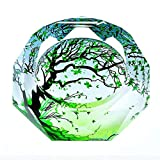 Huasen Home Ashtray Ashtray 3D Green Maple Leaves Color Printing Style Crystal Glass Fashion Creative Personality Gifts Living Room with Smoke Office Ashtray (Size : 25254cm)