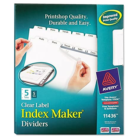 avery index maker clear label dividers 11436 easy apply label strip 5 tab