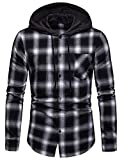 WHATLEES Men's Long Sleeve Hoodie Plaid Flannel Button Down Shirt BA0245-Black-M
