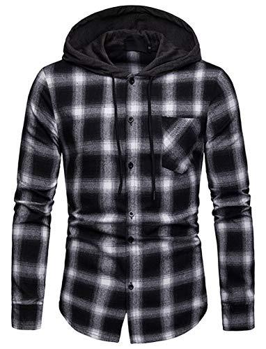 WHATLEES Men's Long Sleeve Hoodie Plaid Flannel Button Down Shirt BA0245-Black-L