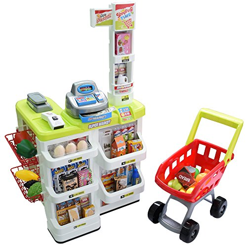 Seprovider Kids Supermarket Playset with Toy Shopping Cart, Toy Cash Register, Checkout Counter, Working Scanner, Play Money, 23 Play Food for Baby Pretend Play