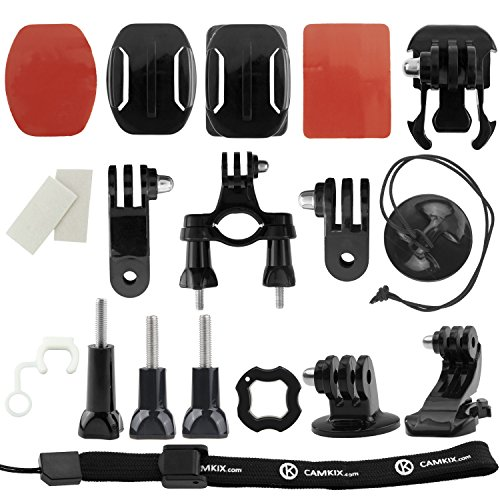 CamKix Grab & Go Accessory Kit for GoPro Hero 4, 3+, 3, 2, 1 - includes 2 Adhesive Mounts/3-Way Pivot Arm/Locking Plug/Quick Release Buckle/Tripod Mount/Opening Tool/ Thumbscrews/Anti-Fog Inserts/Handlebar Mount/Wrist Strap/Tether (15pcs)