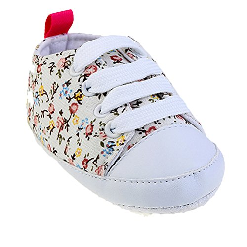 Zhhlinyuan Bebé Breathable Canvas Sneaker Antiskid Soft Cute Casual Toddler Shoes White
