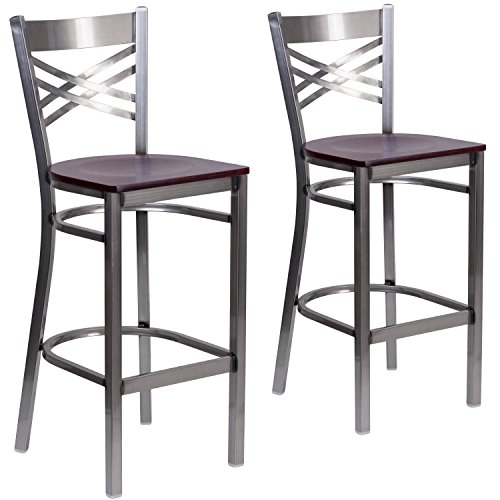 Contemporary Mahogany Bar Stool - Flash Furniture 2 Pk. HERCULES Series Clear Coated ''X'' Back Metal Restaurant Barstool - Mahogany Wood Seat