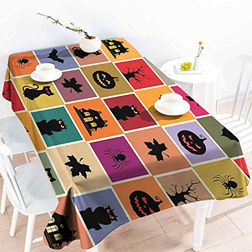 Onefzc Waterproof Table Cover,Vintage Halloween Bats Cats Owls Haunted Houses in Squraes Halloween Themed Darwing Art,Fashions Rectangular,W54x90L Multicolor ()