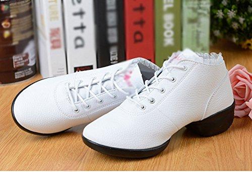 YouPue Blanc Creux Pleine Danse Cuir Chaussures Mou Moderne Danse Fond Carrée Augmenté De Chaussures De Printemps Peau Femme De HBfSpwqFH