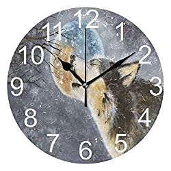 Wamika Howling Wolf Moon Wall Clock Battery Operated Non Ticking Silent Round Acrylic Funny Animal Cartoon Clock Quartz Decorative Clocks for Home Office Kitchen School Easy to Read