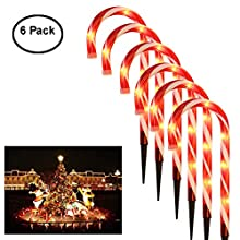Cane Candy Lights - Outdoor Christmas Yard Lawn Pathway Markers Garden Stakes - Christmas Candy Cane Pathway Markers - 6 Pack Large Plastic Red White Lights - Christmas Decorations - Party Decor - 15""