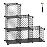 SONGMICS Interlocking Storage Rack, Metal Wire Mesh Cube Shelf, 6 Cube for Books, Shoes, Clothes, Ideal for Garage, Cellar, Office, Wardrobe, Stable, 36.6'L x 12.2'W x 36.6'H Gray ULPX111GY