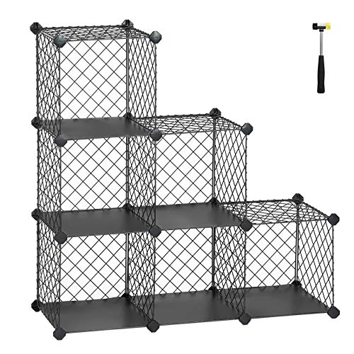 SONGMICS Interlocking Storage Rack, Metal Wire Mesh Cube Shelf, 6 Cube for Books, Shoes, Clothes, Ideal for Garage, Cellar, Office, Wardrobe, Stable, 36.6