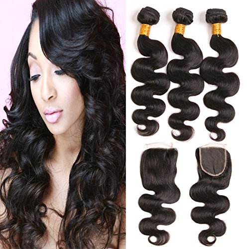 Price comparison product image Daiweier Virgin Hair Body Wave With Closure 4x4 Medium Brown Mink Brazilian 3 Bundles 8A Silk Lace Closures Real Human Hair Extensions Wholesale Deals 12 14 16 + 10 Inches