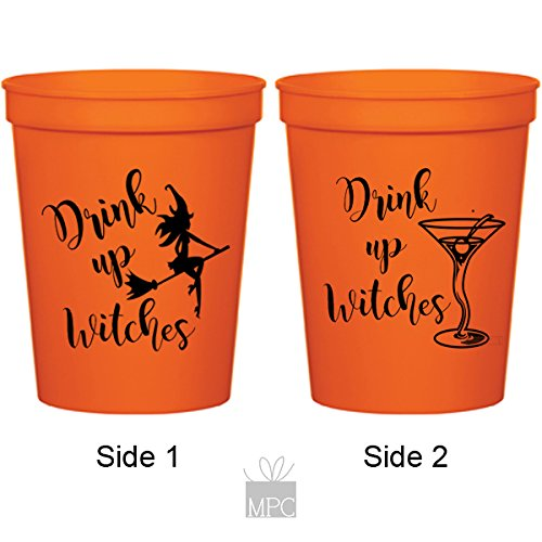 Halloween Orange Plastic Stadium Cups - Drink Up Witches Martini (10 cups)
