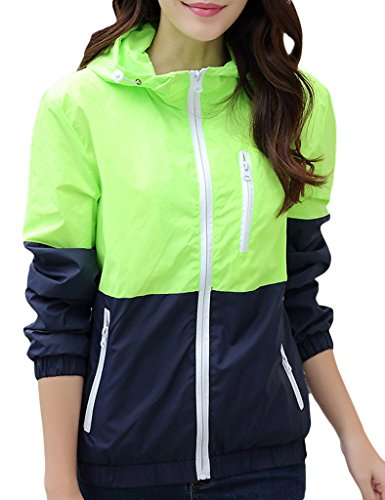 Women's Sun Protect Outdoor Jacket Quick Dry Windproof Water Repellent?Coat Light Green S tag size L