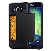 Galaxy A5 Case, EVERGREENBUYING [Slider Series] Protective Sliding Card Cases for SM-A5000 Soft-Interior Scratch Protection Finished Hard Cover for Samsung GALAXY A5 (2015) Black