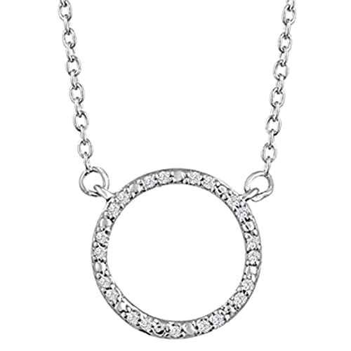 Amazon Com Diamond Accent Sterling Silver Circle Necklace 16 18