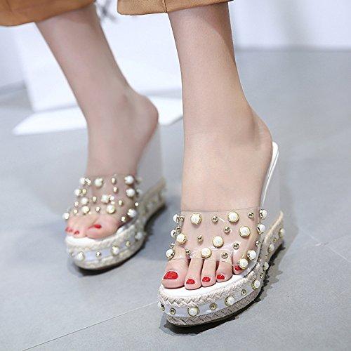 SCLOTHS Sommer Frauen Flip Flops Hang High Asakuchi Heel Transparente künstliche Perlen Asakuchi High Komfortable 54dbe4