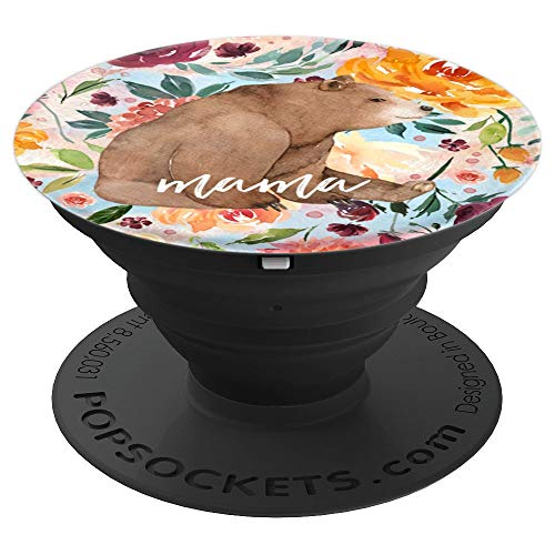 Mama Bear Feminine Blue Watercolor Floral Foliage Pattern - PopSockets Grip and Stand for Phones and ()
