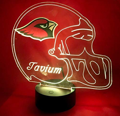 Arizona Beautiful Handmade Acrylic Personalized Cardinals NFL Football Light Up Light Lamp LED Lamp, Our Newest Feature - It's WOW, With Remote, 16 Color Options, Dimmer, Free Engraved, Great Gift ()
