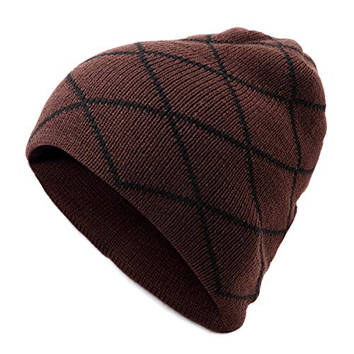 (ACDOS Men Male Knitted Slouch Beanie Hat Grid Twill Square Double Layer Elastic Outdoor Cap ACDOS (Color : Color Coffee, Size : One size))