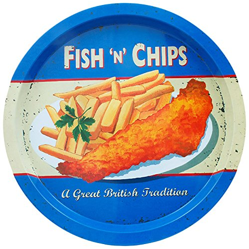 Martin Wiscombe Fish and Chips Tin Tray 32.5cm CEX12CR