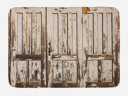 Ambesonne Rustic Bath Mat, Vintage House Entrance with Vertical Old Planks Distressed Rustic Hardwood Design, Plush Bathroom Decor Mat with Non Slip Backing, 29.5