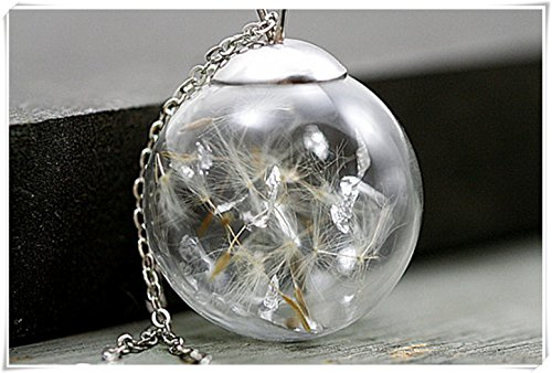 Sterling Real Dandelion Snowglobe necklace -Mother's Day gift