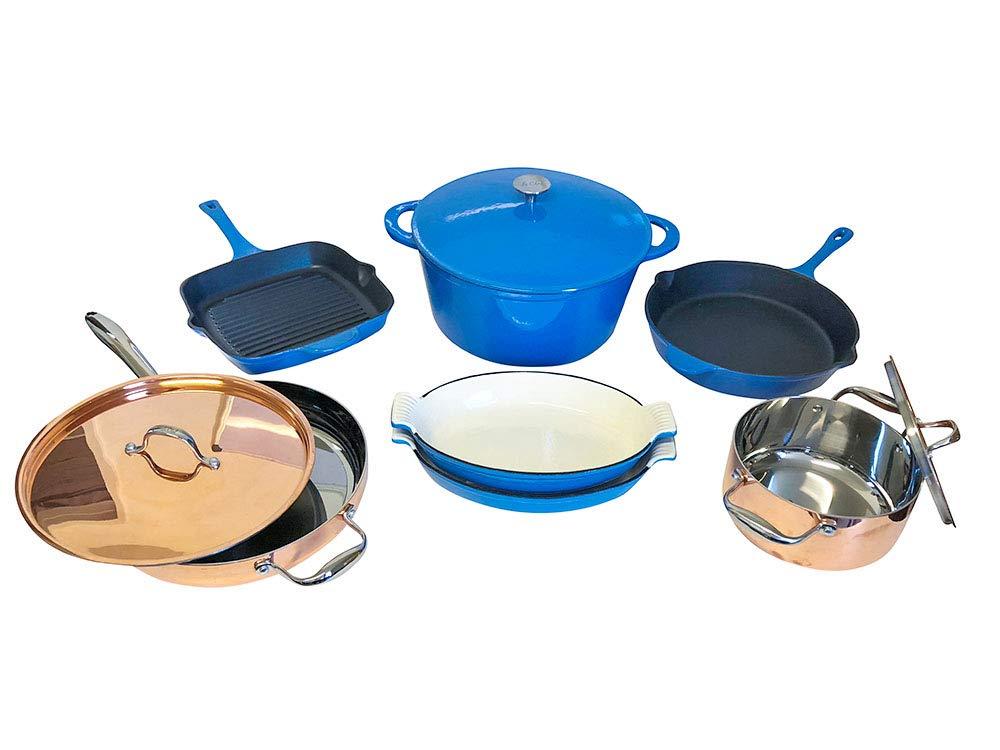 Le Chef 10-Piece Multi-Purpose Cookware Set, (Multi-Colored, FBCL)