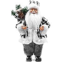 Papai Noel Casaco Xadrez Preto e Branco Luxo Saco Presentes 30cm - Magizi