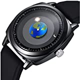 MINILUJIA Earth Globe Moon Sun Rotating Moving Eye-catching Perdonalized Cool Unique Watch World Map Watches Waterproof Watch Silicone Black Strap For Unisex