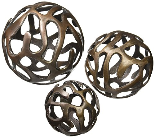 Deco 79 Aluminium Ball Decor, 8 by 6 by 4-Inch, Brass, Set of 3 - Deco Bowl And Ball