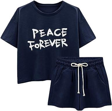 UK Womens Summer 2PCS  T-Shirt Tops+Shorts Tracksuits Set Lounge Wear Ladies