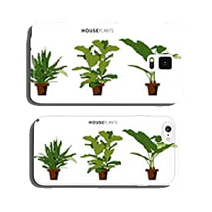 Set of three houseplants with brown plant pot. Vector design. cell phone cover case Samsung S6