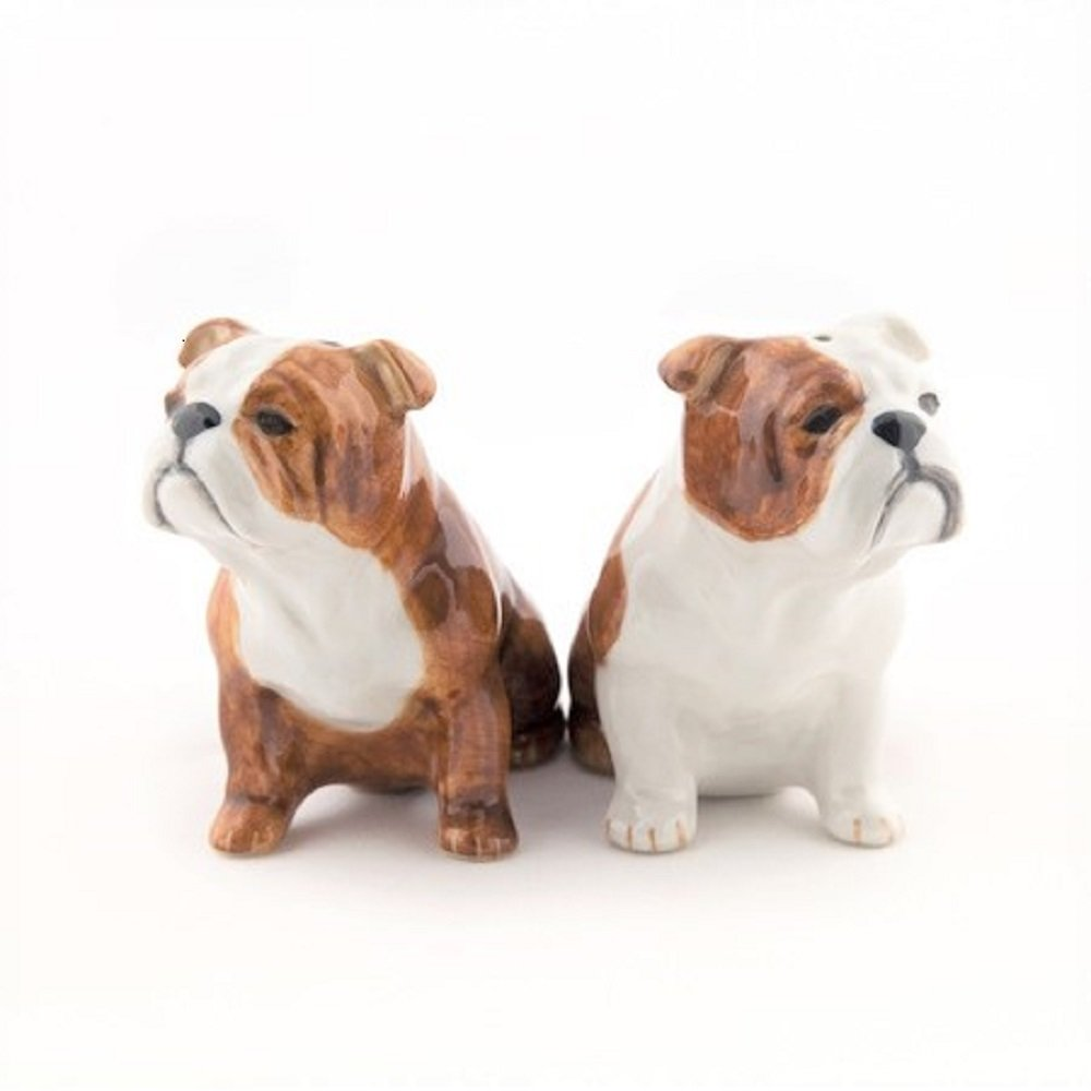 Ceramic English Bull Dog Salt /& Pepper Pots By Quail