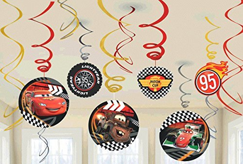 New Diseny Cars Party Foil Hanging Swirl Decorations / Spiral Ornaments (12 PCS)- Party Supply, Party Decorations (Cars Theme Party Decorations)