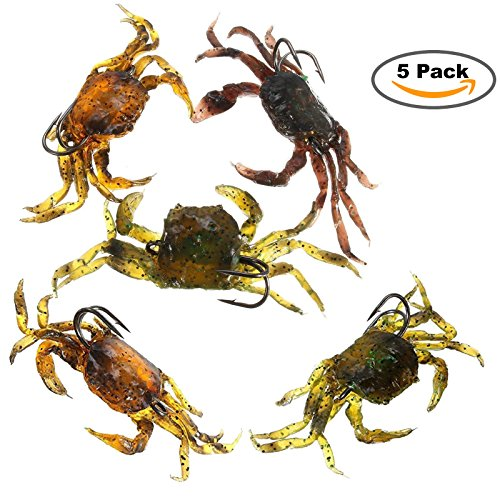 5 Pack Soft Fish Fishing Crab Lures Bait Artificial with Sharp Hooks Simulation Saltwater Lure Fishing Tackle Accessory Tool  (Soft Fish)