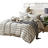 Luxury Striped Duvet Cover Set Twin Hotel Soft Washed Cotton Duvet Comforter Cover Set 3 Piece Boys Girls Bedding Set 1 Duvet Cover with 2 Pillow Shams Super Soft Twin Duvet Cover Set for Kids Adults