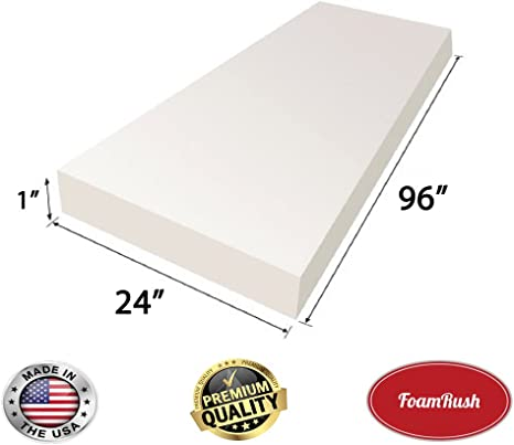 GoTo Foam 1 Height x 30 Width x 96 Length 44ILD Upholstery Cushion Made in USA Firm