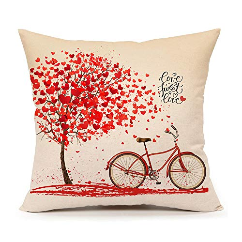 4TH Emotion Valentine's Day Throw Pillow Case Cushion Cover Cotton Linen 18 x 18 Inch Red Tree and Love Bicycle Home Decoration(Sweet Heart) -