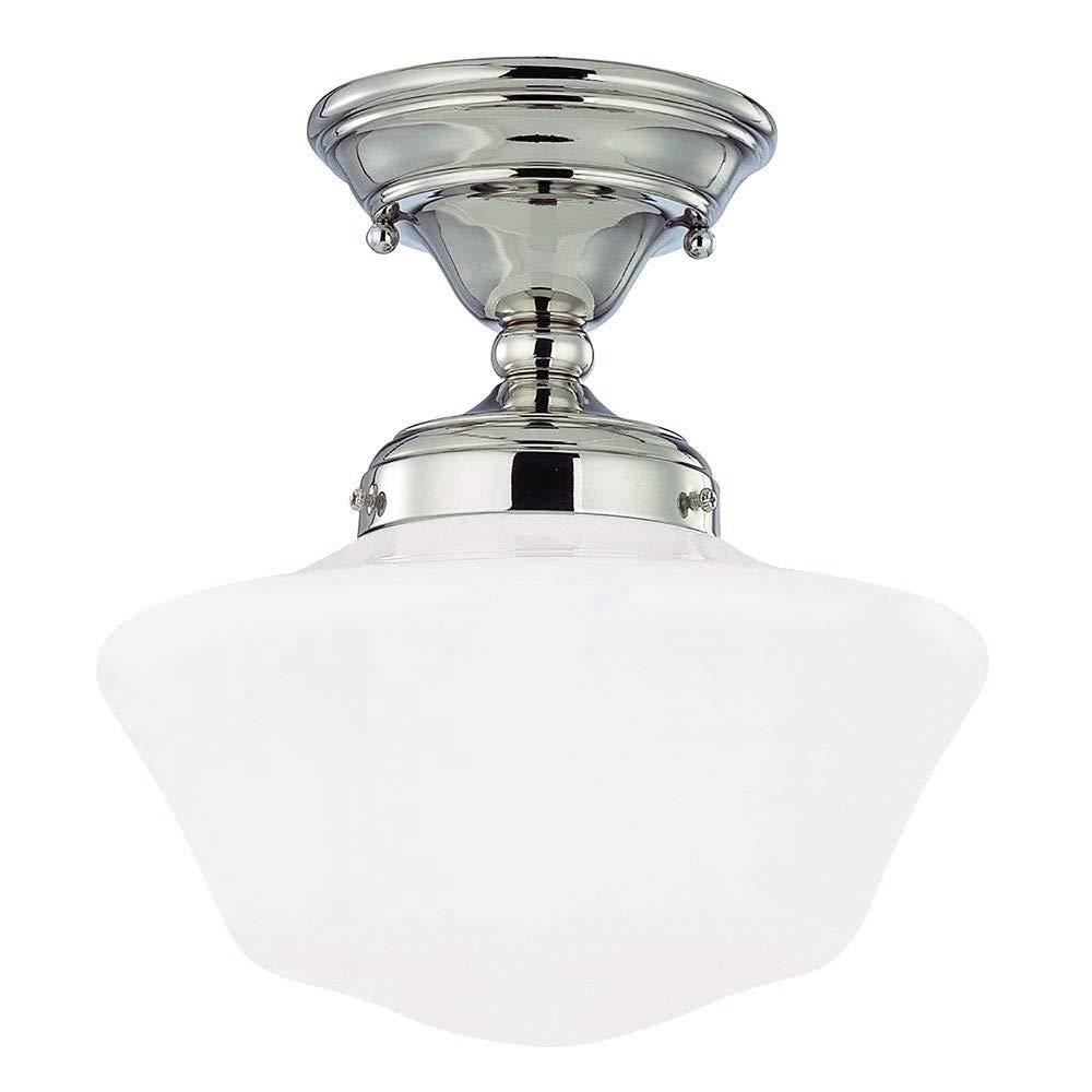 10-Inch Schoolhouse Semi-Flushmount Ceiling Light in Polished Nickel