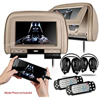 XTRONS Beige 29 HD Digital Widescreen Twin Car Headrest DVD Player 1080P Video with HDMI Input IR transmitter and FM Transmitter&IR Headphones Included